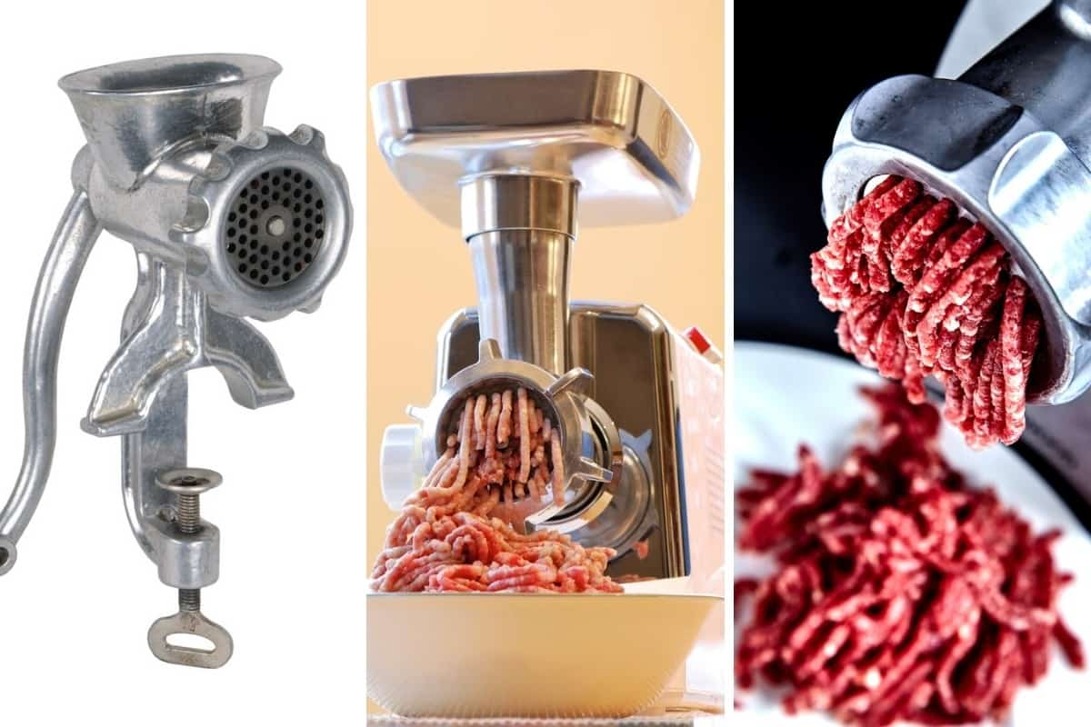 3 photos of different meat grinders side by side.