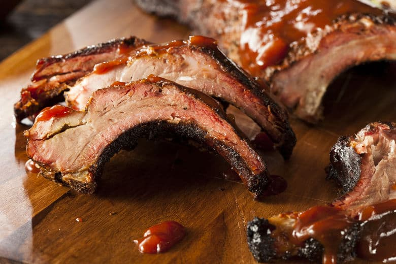 A nice rack of ribs cooked by the 3-2-1 ribs method