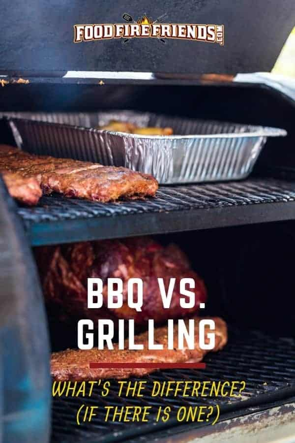 BBQ Vs grilling written across a large smoker full of various meats