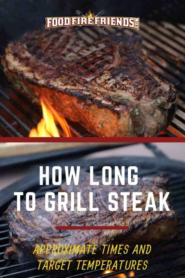 How long to grill steak, written across 2 images of steak on charcoal grills