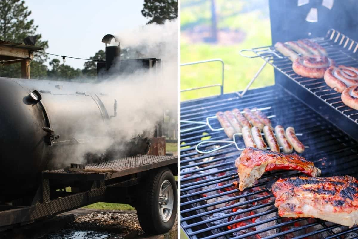 A large smoking BBQ, beside a msall grill with sausages cooking