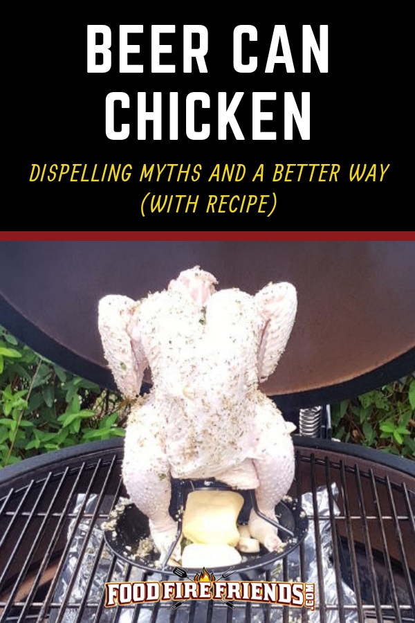 Beer can chicken written above an uncooked chicken on a vertical roaster, on a grill