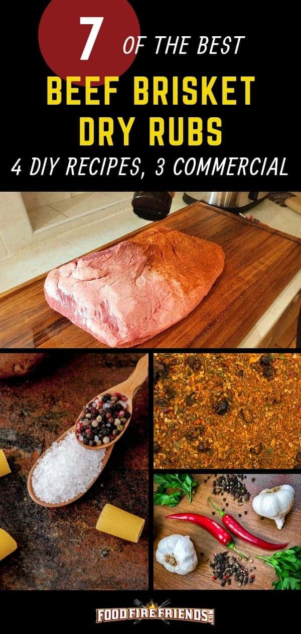 Best Beef Brisket dry rubs written above a photo montage of different dry rubs