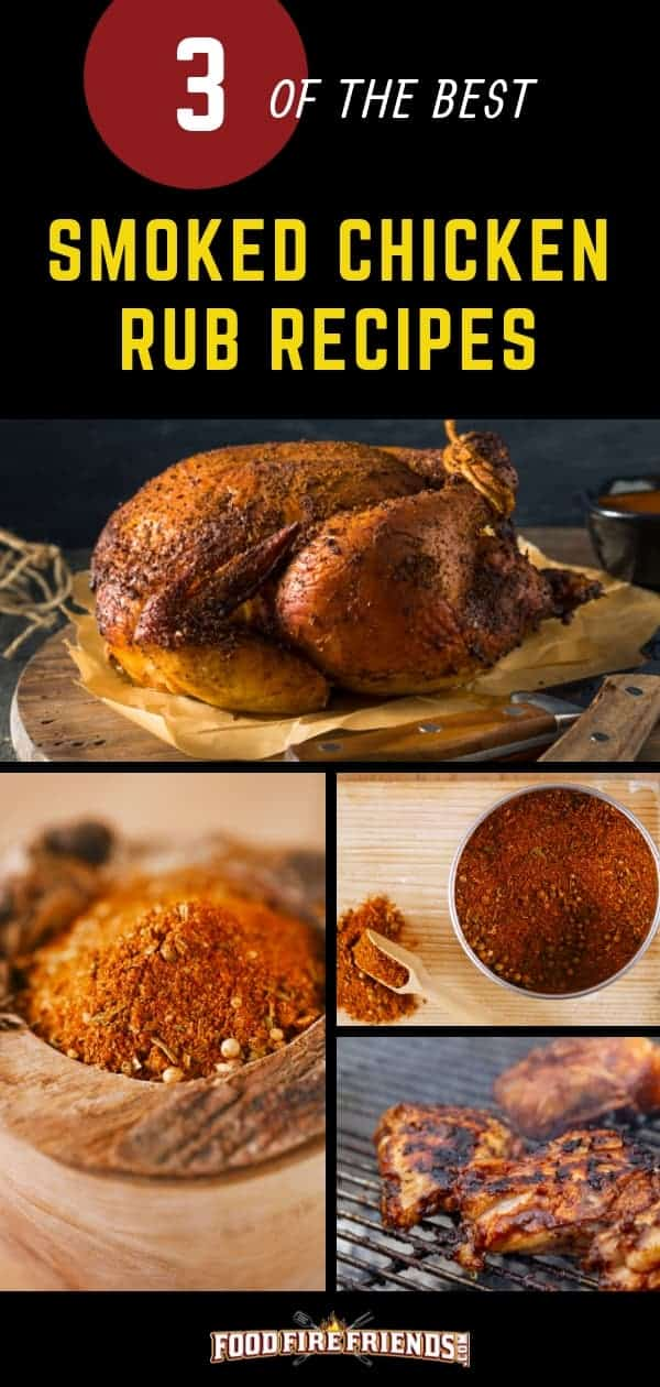 3 best smoked chicken rub recipes written above a photo montage of smoked chicken and rubs
