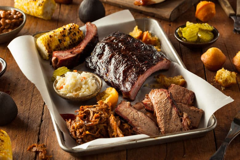 Smoked BBQ platter including ribs and brisket