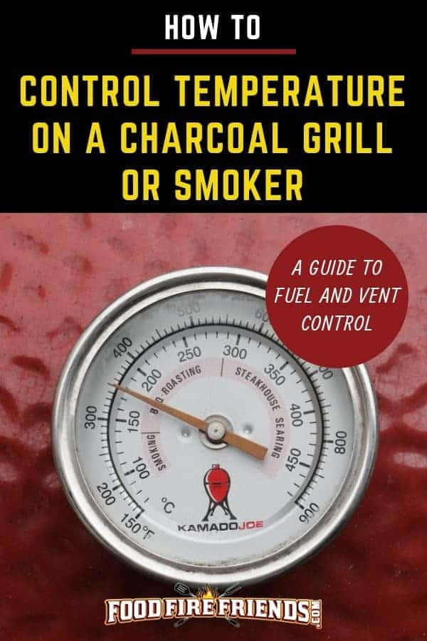 How to control temperature on a charcoal grill or smoker written across a large temp gauge