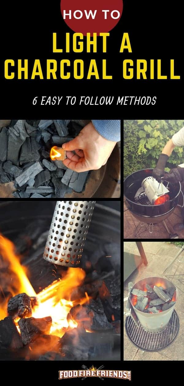 How to light a charcoal grill written above a photo montage of charcoal being lit different ways