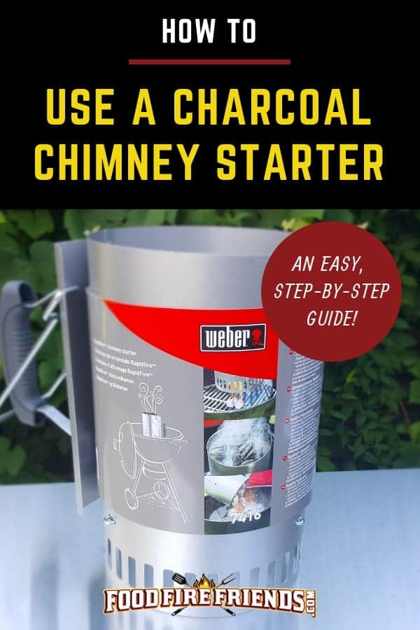 How to use a charcoal chimney starter written across a new one on a metal table
