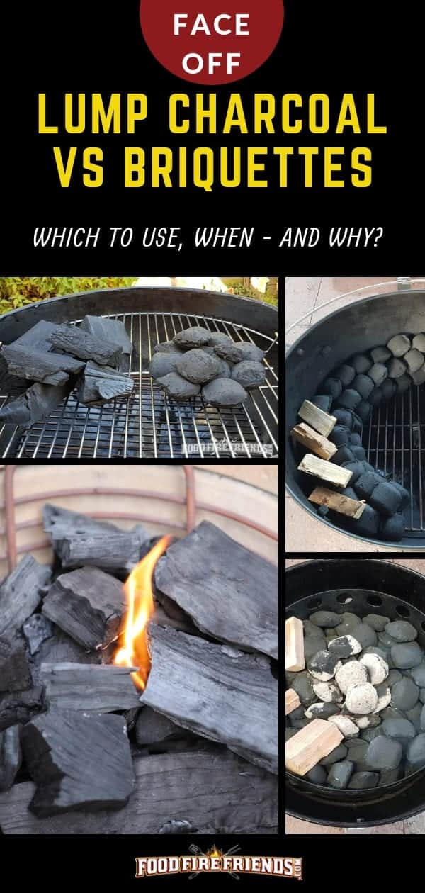 Lump Charcoal vs Briquettes, written above a photo montage of both fuel types