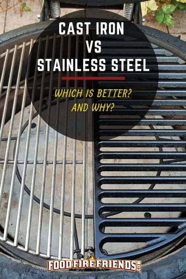 Stainless steel vs cast iron grates written across a grill with one of each grates