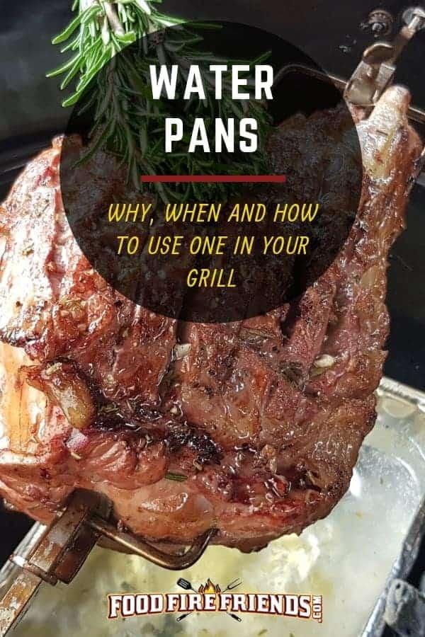 Water pans - written across an image of leg of lamb dripping fats into a water pan