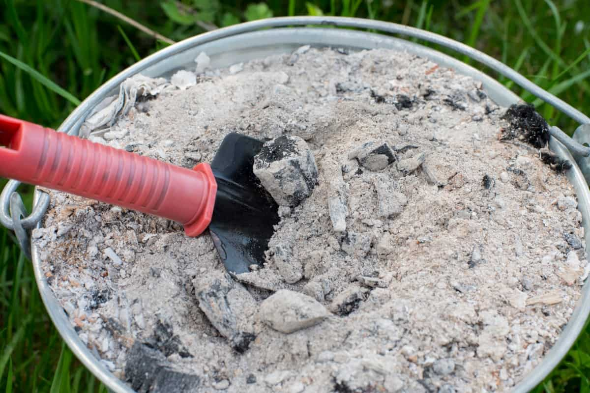A bbq full of charcoal ash, with a red handled trowel dug into it