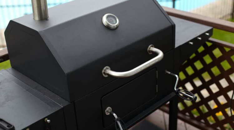 A brand new smoker on decking, ready to be seasoned