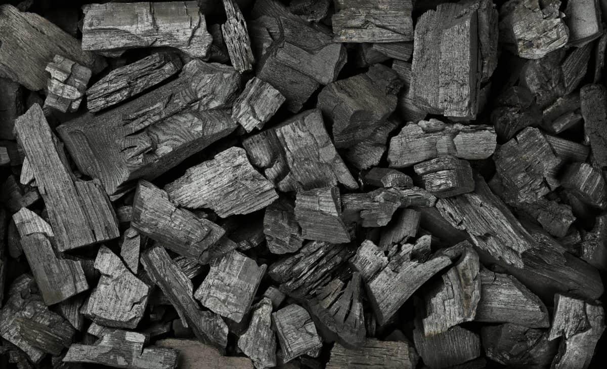Overhead shot of lump charcoal