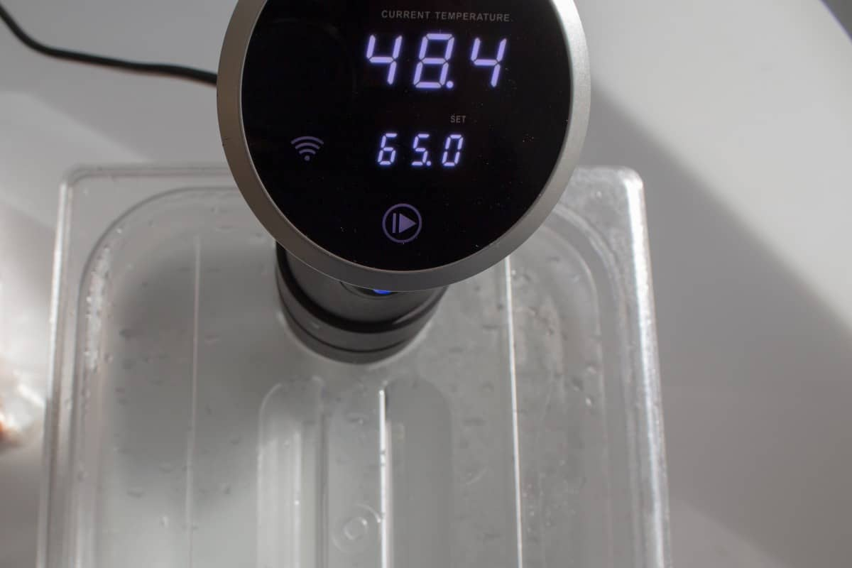 sous vide wand reading 48.4, sitting in a bath of water