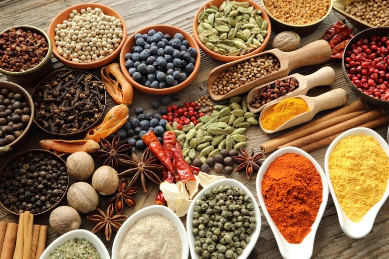 A large selection of herbs and spices from around the world