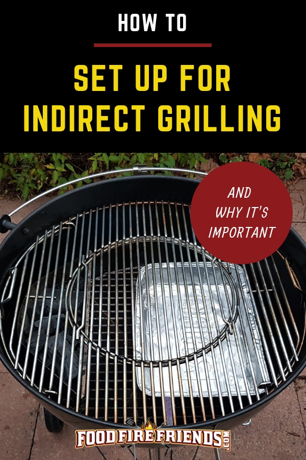 How to Set Up for Indirect Grilling written above a charcoal kettle grill set up this way