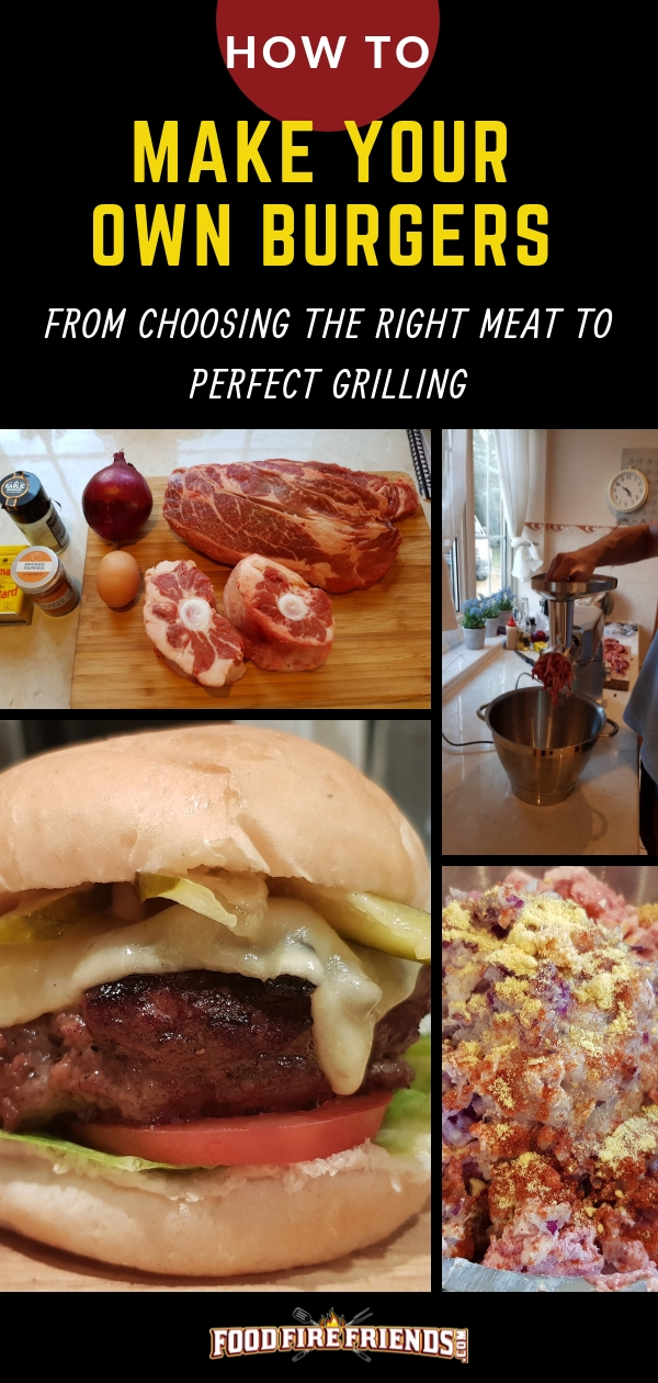 How to make your own burgers written above a photo montage of burgers being made and cooked