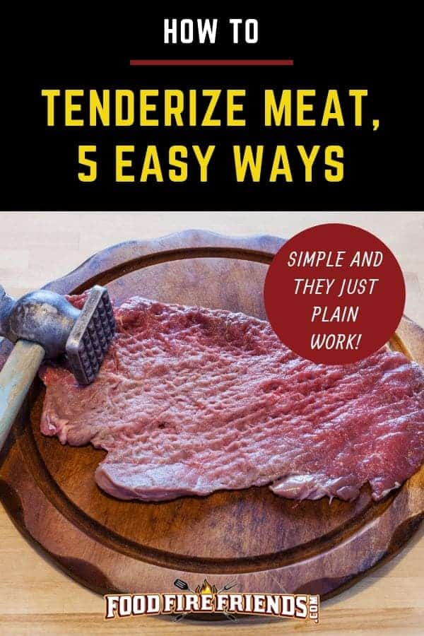 How to tenderize meat written above some tenderized steak with a mallet nearby