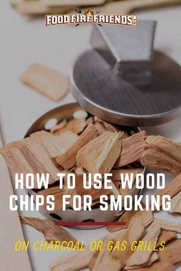 How to use wood chips for smoking written across a box of wood chips on a white background