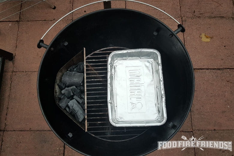 Weber kettle Mastertouch set up for indirect grilling