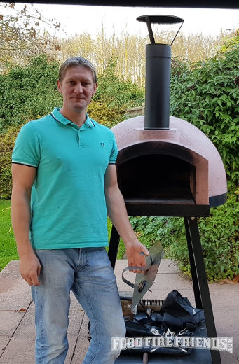 Me showing off my refractory material wood fired oven