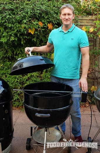Me with my Weber Original Kettle, set up with the rotisserie attachment