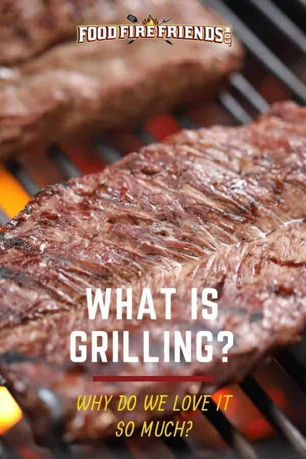 What is grilling - written across some flank steak on a flaming grill