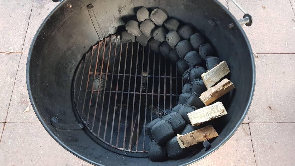 Charcoal snake set up in a kettle style grill