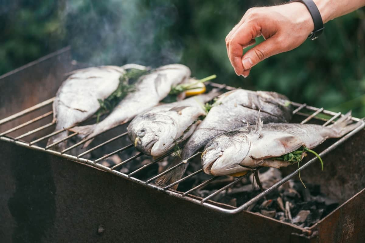 Five fish stuffed with herbs and lemon, being sprinkled with salt while over a charcoal grill