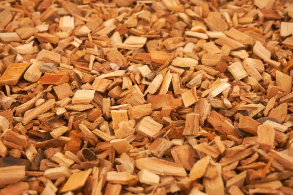 A close of wood chips