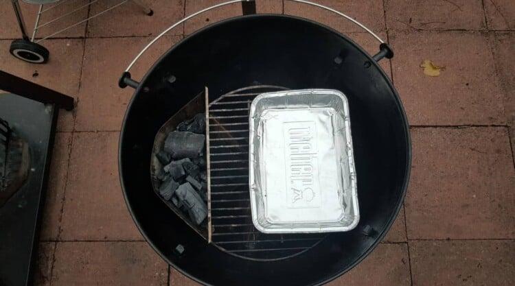 Weber kettle Mastertouch set up for indirect grilling