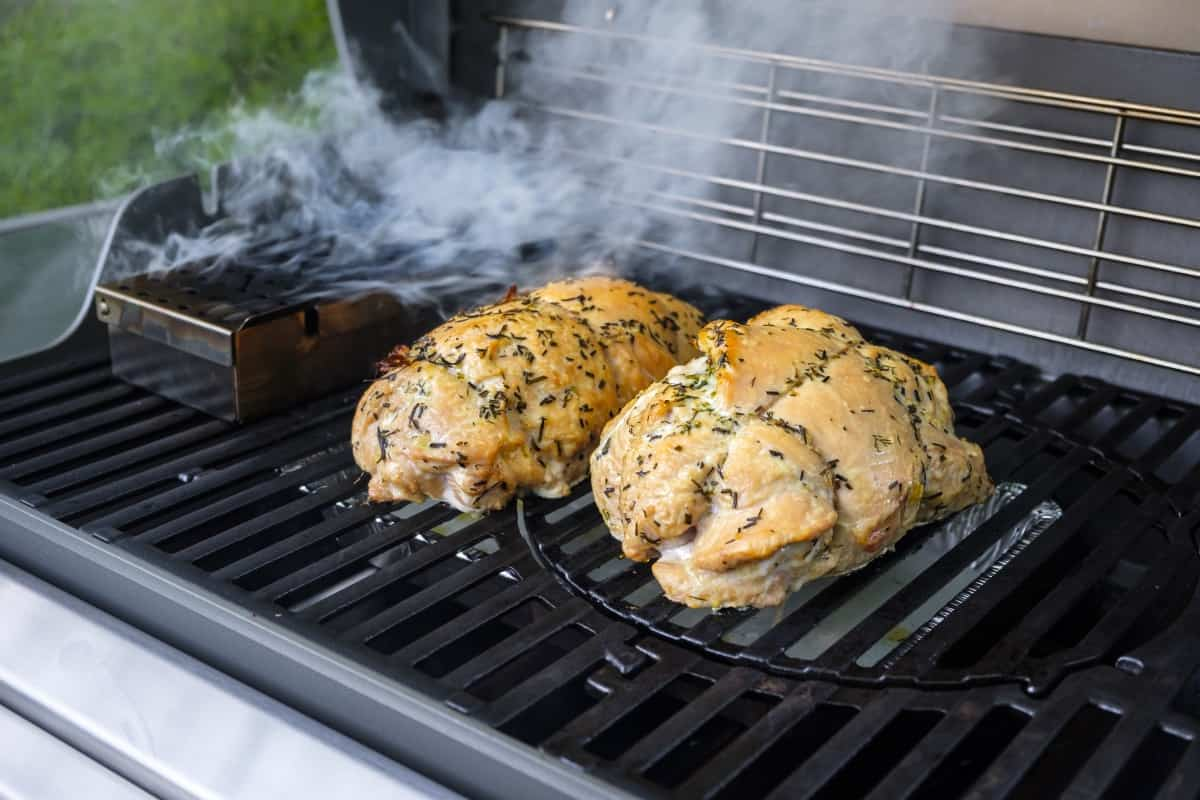 Chicken roasting indirect on gas grill
