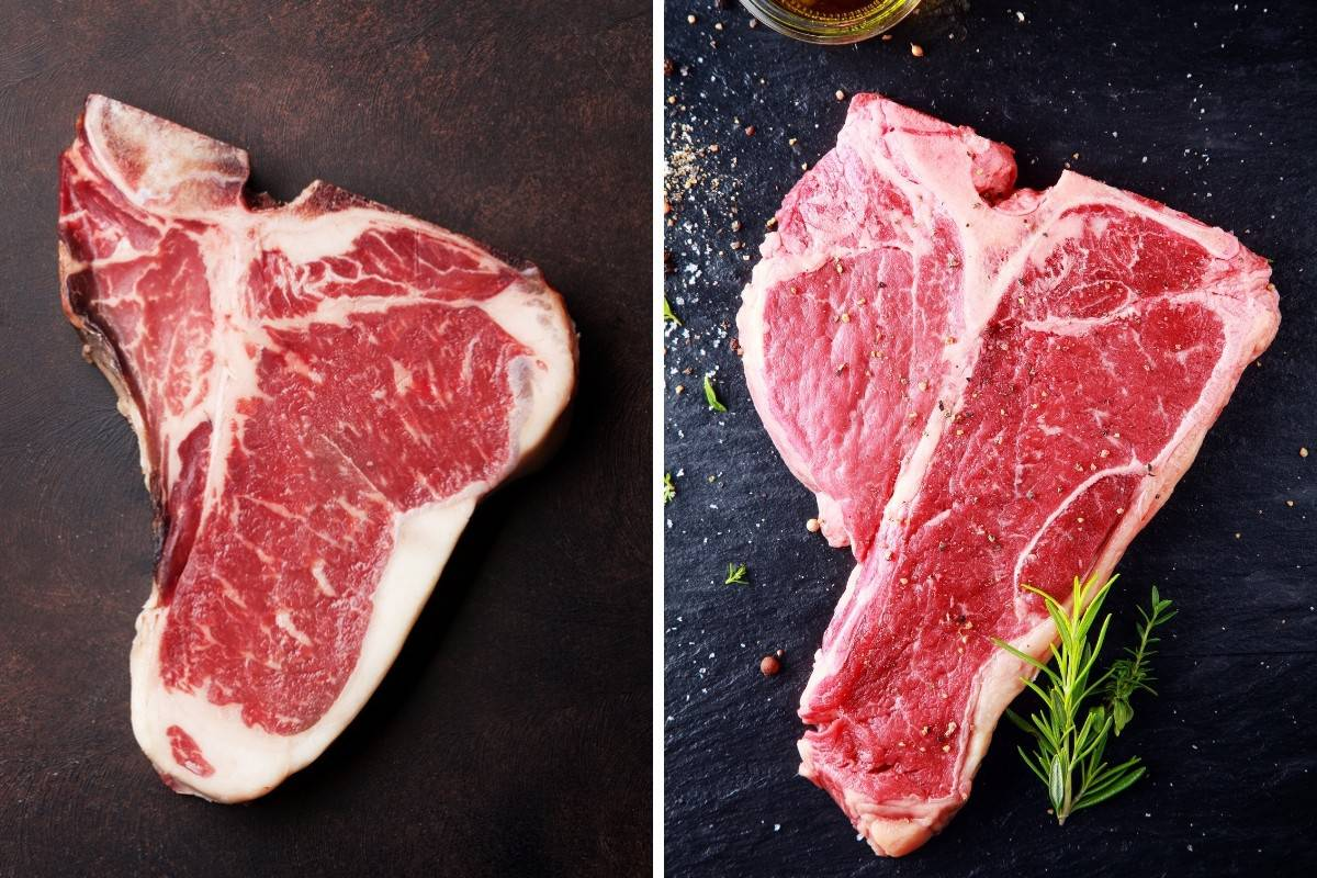Two photos, one each of raw T-bone and Porterhouse steaks