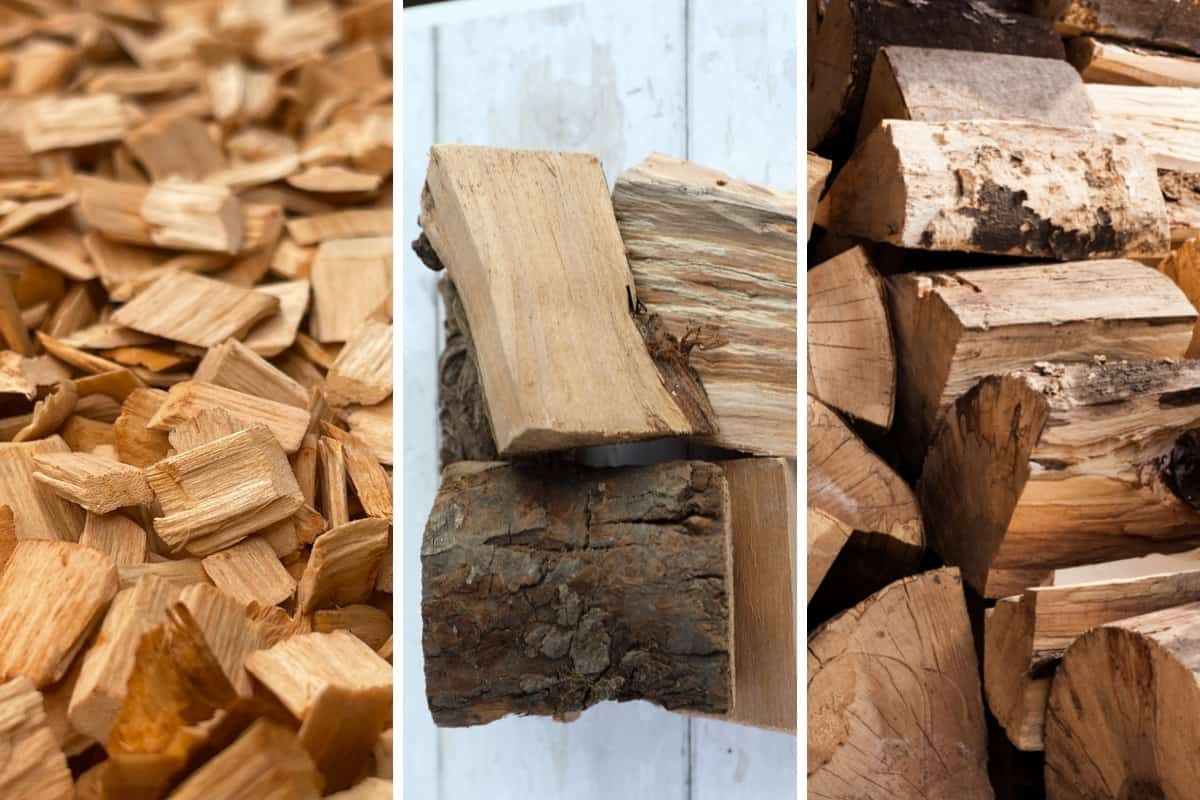 Wood chips, chunks and logs in 3 photos in a montage