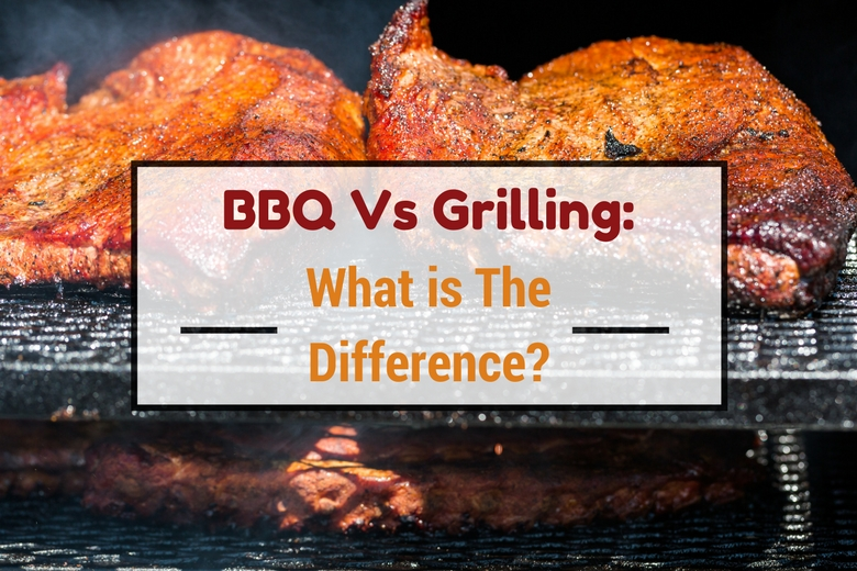 BBQ Vs Grilling: What is the difference, written across some low n slow smoking meats on a BBQ