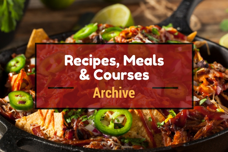 Recipes, meals and courses archive, written across some pulled pork nachos in a skillet