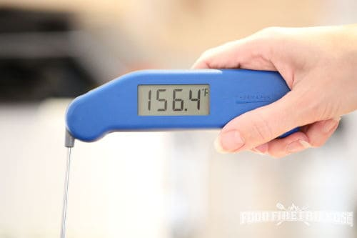 Close up of a blue Thermapen 3 instant read thermometer