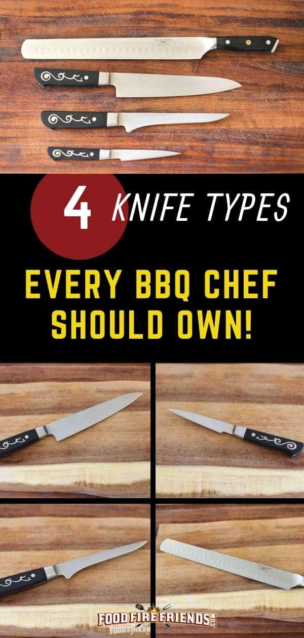 4 knives every bbq chef should own writteen across a photo montage of japanese knives