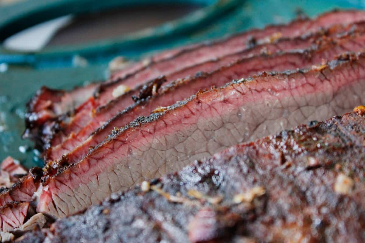 Brisket slices with a good, natural looking smoke ring