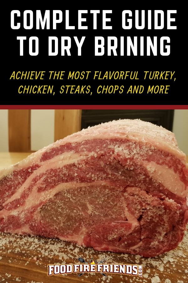 Complete guide to dry brining, written above a forerib of beef coated in salt