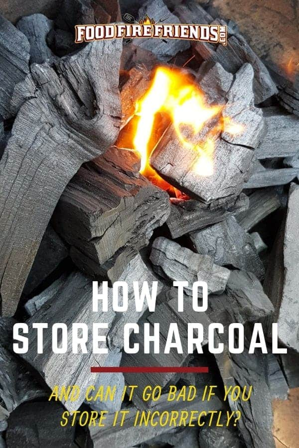 How to store charcoal written across some lump charcoal with a small burning flame