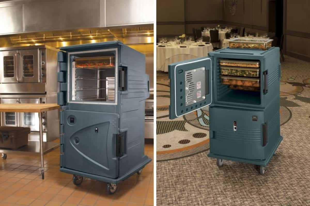 Two different sized commercial food warmers, one in kitchen, the other in the dining room