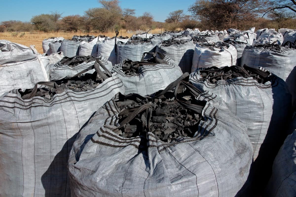 large white builders bags of charcoal in storage