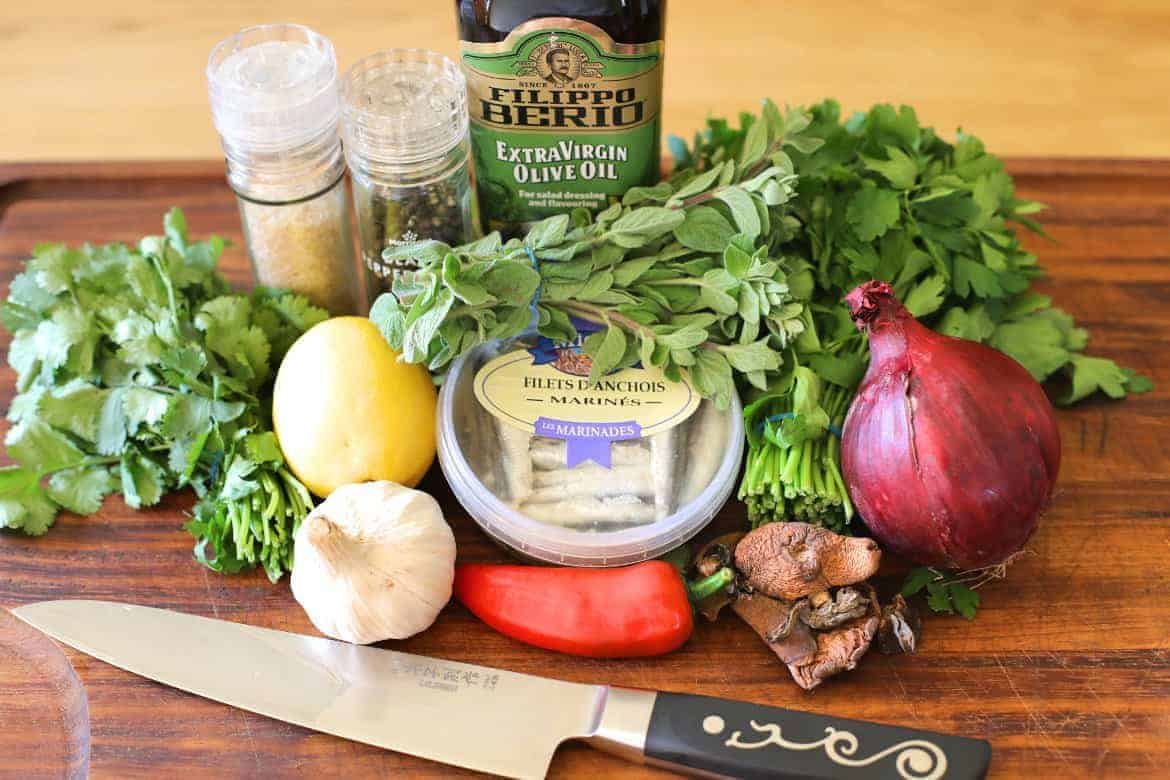 Ingredients used in FoodFireFriends chimichurri recipe