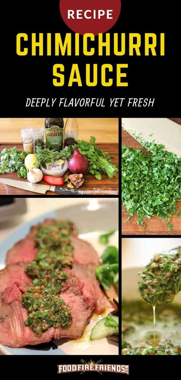 Chimichurri sauce written above a photo montage of the process of making this sauce
