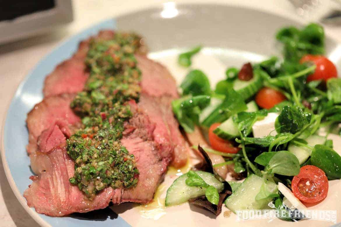 Chimichurri served on steak