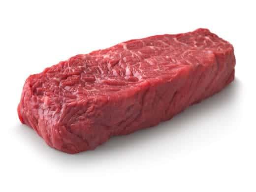 Raw Denver Steak isolated on white
