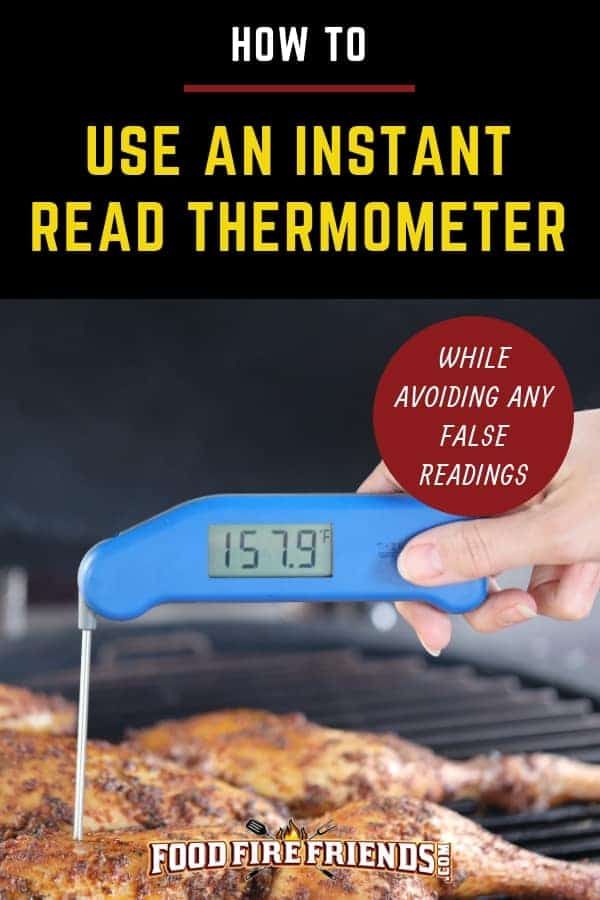 How to use an instant read thermometer written across one taking the temperature of chicken on a grill