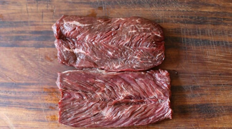 Close up of two bits of hanger steak - tough and benefit from tenderizing